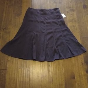 Dress Barn brown suede swing midi skirt size 14